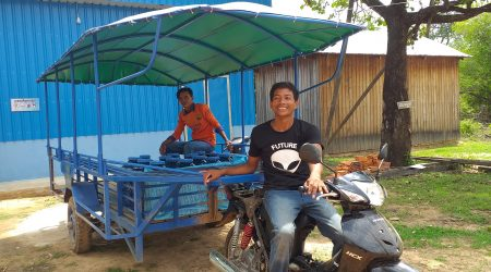 Water station commitee at Svay village processing drinking water pakage and transport to the farmer. (1)